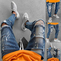 Mens Ripped Skinny Biker Jeans Destroyed Slim Biker Denim Pants Stylish Trousers