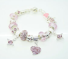 925sterling solid silver European Murano Glass Beads pink Charm Bracelet PXB002