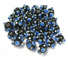 Bumpy Beads Black Blue Lampwork Glass Beads DIY Craft 40 pcs 20mm