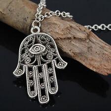 Vintage Accessoryty Hamsa Symbol Fatima Hand Evil Eye Pendant Chain Necklace HL