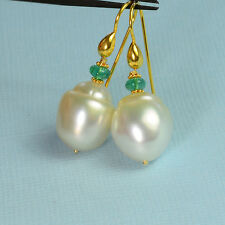 18k Solid Yellow Gold 12mmx13.5mm South Sea White Pearl Earrings With Emerald