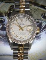 Rolex Datejust 18k Gold/Steel Pyramid Dial Diamond Bezel Ladies Watch 69173