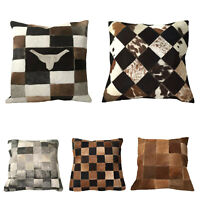 COWHIDE LEATHER CUSHION COVER RUG COW HIDE HAIR ON CUSHION NEW SIZE 15*15 INCH