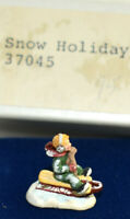 Dollhouse Miniature Olszewski Bronze Snow Holiday Sculpture Figurine Boy Sled