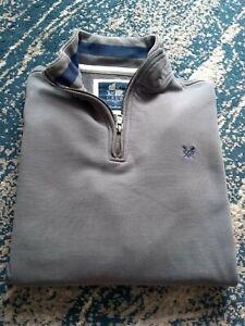 """Crew Clothing M Zip Neck Grey Men's Sweatshirt P2P22"""""""