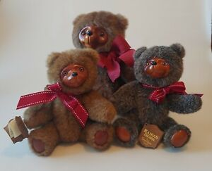 """Raikes Bears By Robert Raikes Jointed 12 """" Sherwood 9"""" Jamie Lot Of 3 With Tags"""