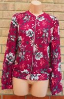 G21 PURPLE MAGENTA GREY FLORAL ZIP FRONT LONG SLEEVE BOMBER JACKET TOP BLOUSE 14