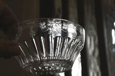 Victorian Glass Dessert Bowl with Engraved Vine Leaves Grapes