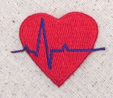 EKG Red Heart/Blue Heartbeat Medical/Nursing Iron on Applique/Embroidered Patch