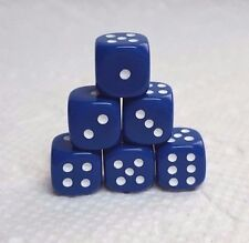 DICE - 10mm DELUXE OP BLUE w/WHITE PIPS! SET OF 6 - AM I BLUE? A WEE LITTLE BIT!