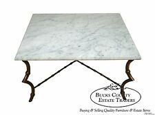 Hollywood Regency Faux Bamboo Brass Coffee Table w/ Italian Marble Top
