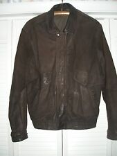 MEN'S BROWN LEATHER LINED JACKET - HEAVY FOR WINTER - WARM - SIZE L