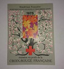 Rare Carnet de timbres croix rouge française 1975 cachet 1 jour