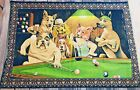 Vtg DOGS Playing BILLIARDS POOL Wall Hanging TAPESTRY Rug New York 57X40 HTF Exc
