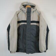 Columbia Men's Medium Coat Jacket Poly Loft Green Beige Hooded Insulated Nylon