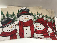 Tapestry Holiday Snowmen Placemats Kitchen Dining Christmas Cloth-back Set Of 4