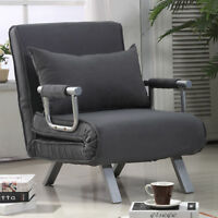 HOMCOM Convertible Sleeper Armchair Foldable Sofa Bed Lounge Couch w/ Pillow