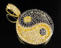"Yellow Gold Finish Black Diamond Yin Yang Symbol Pendant Charm 1 1/2 CT 1.4"""
