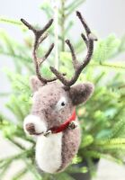 GISELA GRAHAM CHRISTMAS WOOL STAG REINDEER HEAD HANGING DECORATION