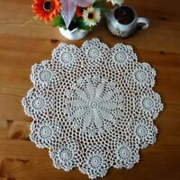 Hand Crocheted Cotton Yarn Round Lace Doily Mat Vintage Flower Coasters Crafts