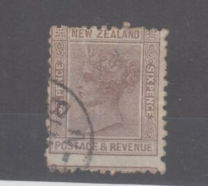 New Zealand QV 1882 6d Brown p12 x 11.5 Die II SG201a Fine Used JK2182