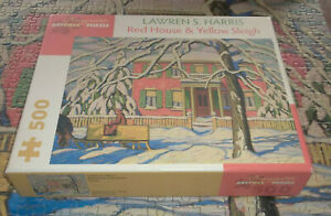 COMPLETE 500 PIECE JIGSAW PUZZLE Pomegranate RED HOUSE & YELLOW SLEIGH L Harris