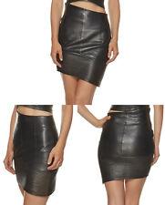 Gianfranco Ferre Asymmetric Leather Mini Skirt sz 44 US 8