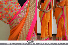 Bollywood Ethnic Traditional Designer Art Silk Saree Sari Bridal Party Dress
