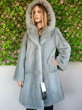 REAL NEW MINK FUR COAT SAPPHIRE HOOD MEXA NERZMANTEL SABLE CHINCHILLA 713