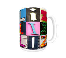 LIZ Coffee Mug / Cup featuring the name in photos of sign letters