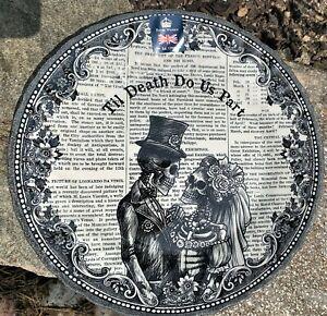 Halloween Plates Till Death Do Us Part Newspaper Couple Skulls Royal Stafford