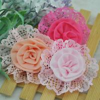 10pcs Big Lace Organza Ribbon Flowers Wedding Sewing Appliques Crafts E202
