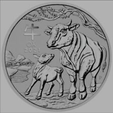 1/2 Ounce 99.99% Silver 2021 Year Of The Ox Bullion Coin In Capsule. Perth Mint