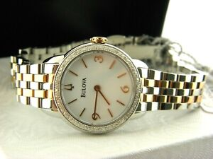 BULOVA WOMEN'S ST.STEEL WATCH 72 DIAMONDS BEZEL  # 98R182