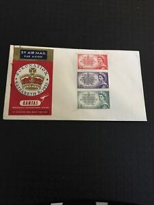 Australia * 1953  Fdc Qantas Queen Elizabeth Coronation Stamps  Un cancelled