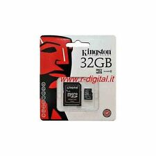 KINGSTON MICRO SD 32GB 32 GB HC CLASE 4 FICHA MEMORIA con adaptador AMPOLLA