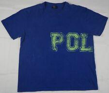 Rare Vintage POLO RALPH LAUREN Spell Out Wraparound Print T Shirt 90s Blue SZ L