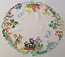 More details for vintage tablecloth hand embroidered oriental blue willow design stunning
