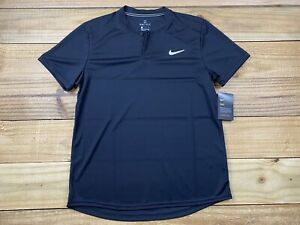 NWT Nike Court Slim Fit Blade Collar Polo Shirt Sz L AQ7732 Dri-Fit Black