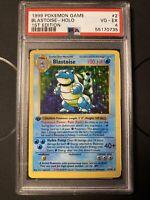 1999 Pokémon TCG Base Set Blastoise 1st Edition Holo #2 PSA 4 Excellent
