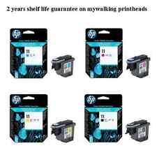 4 X ORIGINAL 2014 DATE HP 11 PRINTHEADS BLACK CYAN MAGENTA & YELLOW FAST POSTAGE