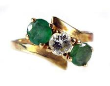 Vintage 1.32CT Colombian Emerald Diamond three stone Ring 14K Yellow Gold VIDEO