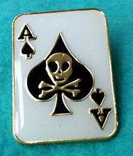 ZP55 Skull Death Card  Ace of Spades Biker Motorcycle Enamel Lapel Pin Badge NEW