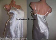 6x white short nightgown SATIN nightie night dress LINGERIE (4077 plus size 6x