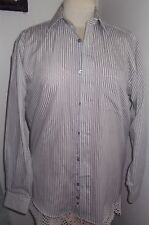 Mens, new, grey & white striped smart shirt, collar size 15