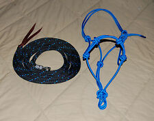 STIFF 4-KNOT HALTER & 14' LEAD ROPE W/TWIST SNAP FOR PARELLI TRAINING METHOD