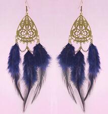 F3442 fashion purple Feather charm chain cute dangle chandelier earrings jewelry