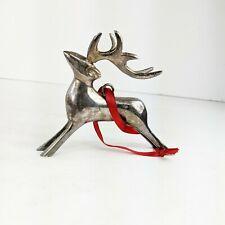 Reindeer Christmas Ornament Silverplate Heavy Patina