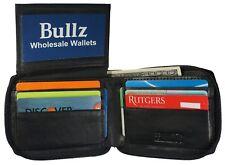 Zip-Around Secure Mens Wallet Cowhide Leather  Zipper ID Card Window  Black