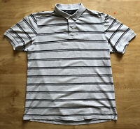 Vintage Retro Chaps Ralph Lauren Grey Black Striped Polo Shirt M Short Sleeved